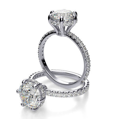 2.03 Ct. Round Cut Solitaire Diamond Engagement Ring with Accents H,SI2 GIA
