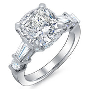 4.20 Ct. Cushion Cut, Baguette & Round Channel & Pave Diamond Engagement Ring I,VVS1 GIA