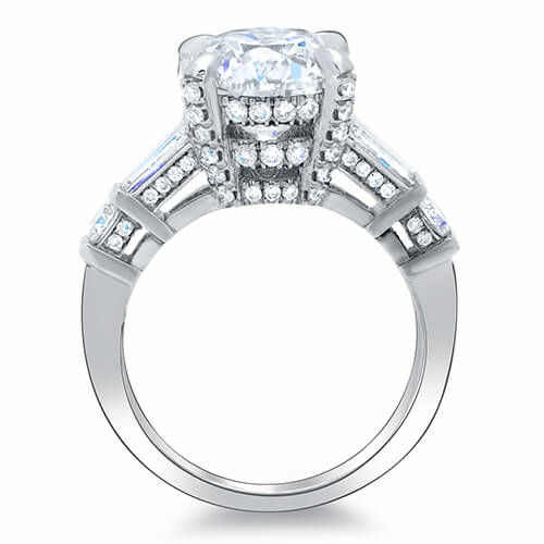 3.11 Ct. Round Brilliant Cut w/ Baguette Channel & Pave Diamond Engagement Ring G,SI1 GIA