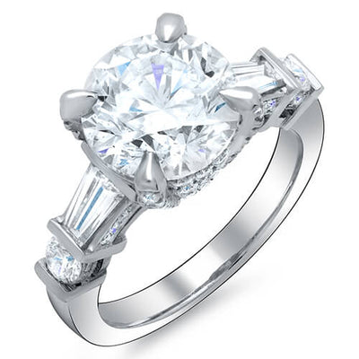 Soltan Round Brilliant Cut w/ Baguette Channel & Pave Diamond Engagement Ring G,SI1 GIA