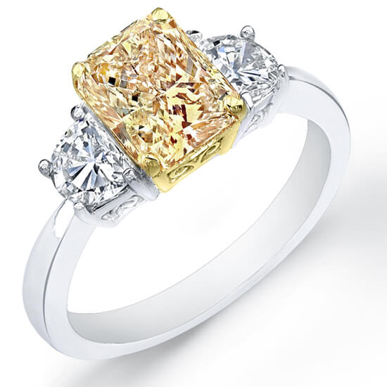 3.91 Ct. Canary Fancy Yellow Radiant Cut & Half Moon Diamond Engagement Ring GIA, SI1