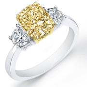 3.91 Ct. Canary Fancy Yellow Cushion Cut & Half Moon Diamond Engagement Ring GIA, SI2