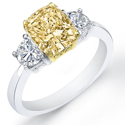 2.01 Ct. Canary Fancy Yellow Cushion Cut & Half Moon Diamond Engagement Ring GIA, VS1