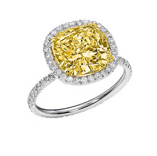 2.81 Ct. Canary Fancy Yellow Cushion Cut Diamond Eternity Halo Engagement Ring SI2 GIA