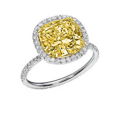 2.02 Ct. Canary Fancy Yellow Cushion Cut Diamond Halo Eternity Engagement Ring SI2 GIA