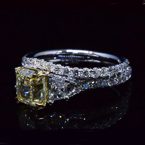2.46 Ct. Cushion Cut Fancy Intense Yellow Diamond Engagement Bridal Set
