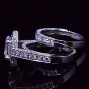 4.09 Ct. Cushion Cut Diamond Halo Engagement Ring Set