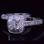 Cushion Cut Diamond Halo Engagement Ring Set