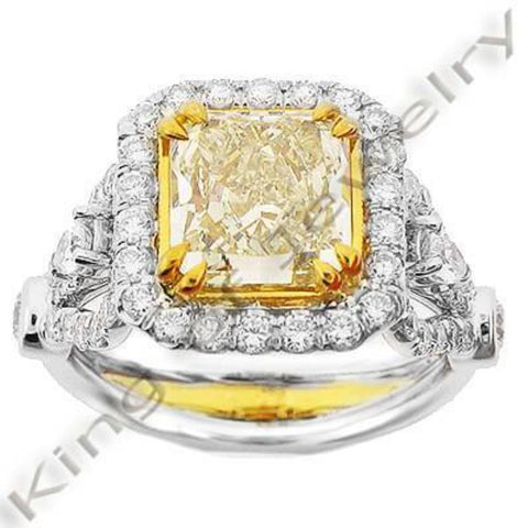 3.78 Ct. Canary Fancy Yellow Diamond Engagement Ring VS1 GIA