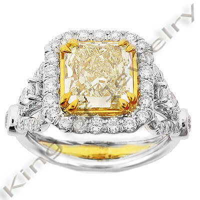3.84 Ct. Canary Fancy Yellow Diamond Engagement Ring VS1 GIA