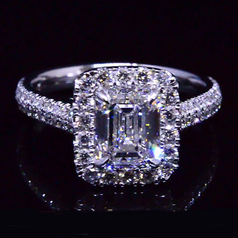 2.63 Ct. Emerald Cut w/ Round Cut Halo Diamond Engagement Ring F,VVS1 GIA