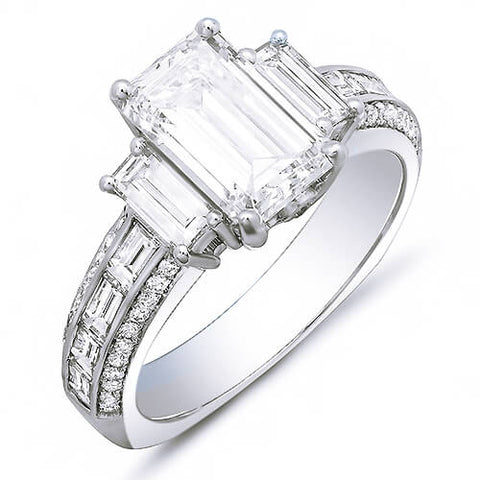 2.45 Ct. Emerald Cut, Baguette & Round Diamond Engagement Ring F,VS1 GIA