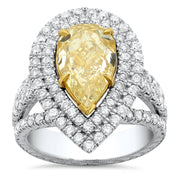 5.15 Ct. Canary Fancy Yellow Pear Shape Dual Halo Diamond Engagement Ring