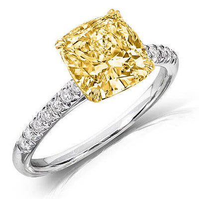 1.47 Ct. Canary Cushion Cut Solitaire Diamond Ring GIA