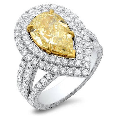 4.00 Ct. Canary Fancy Yellow Pear Shape Dual Halo Diamond Engagement Ring GIA