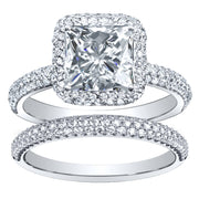 2.45 Ct Princess Cut Diamond Bridal Ring Set E, VS1 GIA
