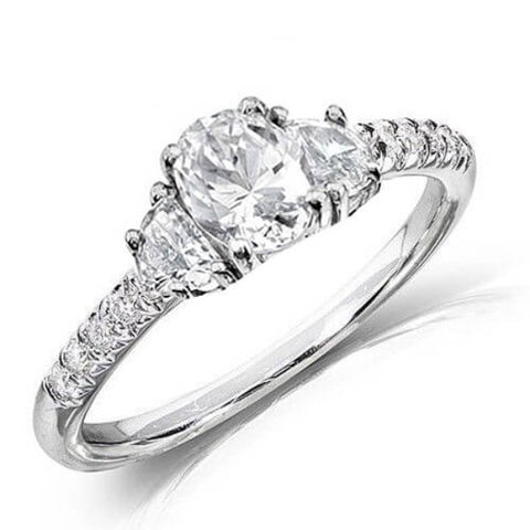 2.41 Ct. Oval Cut & Half Moon Diamond Engagement Ring H,VS2 GIA
