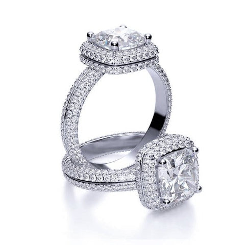 Square Cushion Cut Micro Pave Halo Diamond Ring  Eternity