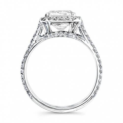 3.01 Ct. Radiant Cut Halo U-Setting Split Shank Diamond Engagement Ring H, IF GIA