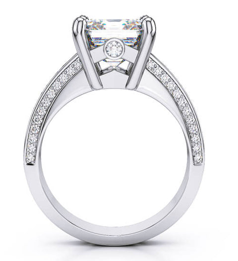 1.91 Ct. Asscher Cut with Baguette & Round Diamond Engagement Ring E,VS2 GIA