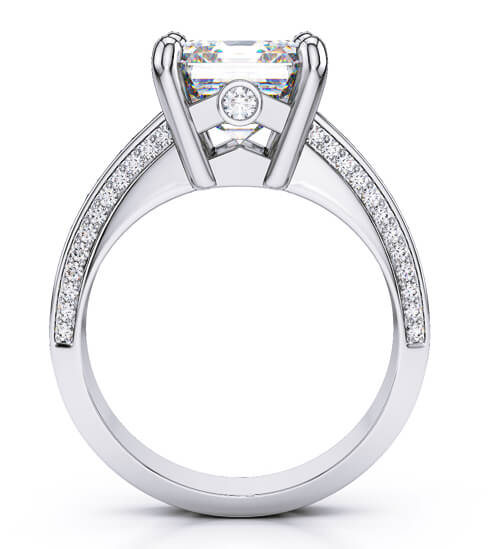 2.20 Ct. Asscher Cut with Baguette & Round Diamond Engagement Ring I,VS1 GIA