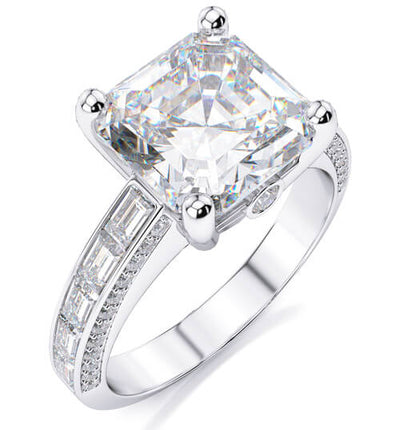 2.61 Ct. Asscher Cut with Baguette & Round Diamond Engagement Ring G,VVS1 GIA