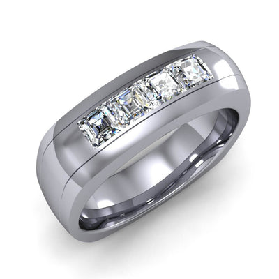 1.00 Ct. Men's Asscher Cut Diamond  Wedding Band Channel Set