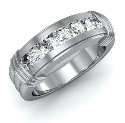 1.00 Ct. Men's Round Cut Diamond Ring Channel Set