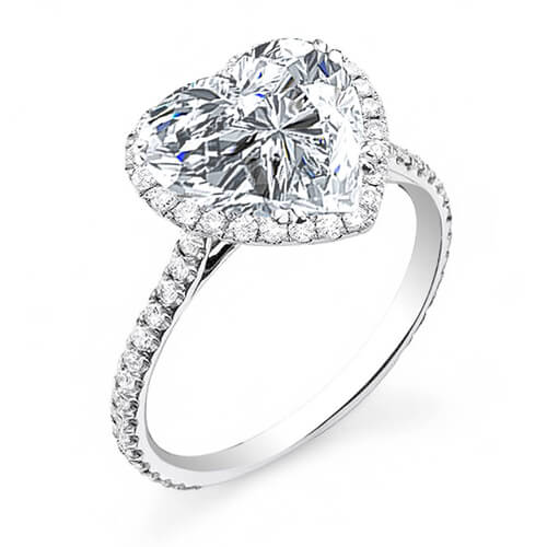 2.70 Ct. Halo Heart Brilliant Cut Diamond Engagement Ring G,VS2 GIA
