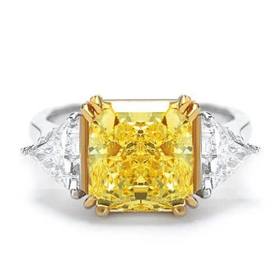 4.01 Ct. Canary Fancy Yellow Radiant Cut 3-Stone Diamond Ring SI1 GIA