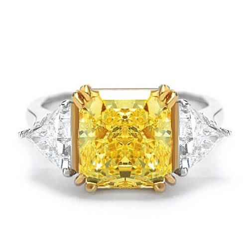 Canary Fancy Yellow Square Radiant Cut 3-Stone Diamond Ring