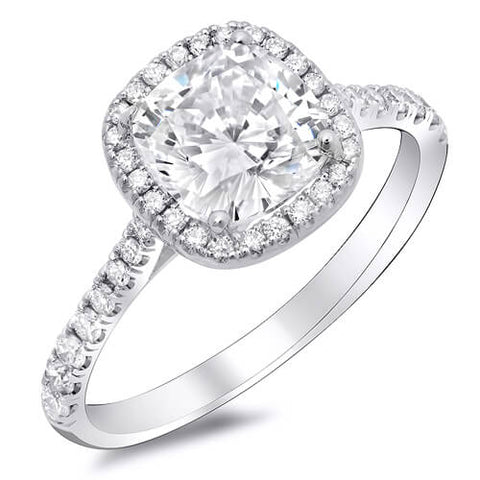 1.93 Ct. Halo Cushion Cut Diamond Lucida Style Engagement Ring G,VS1 GIA