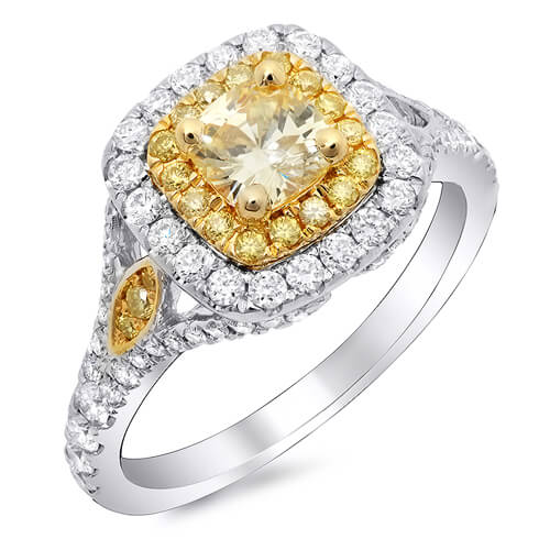 1.88 Ct. Canary Fancy Yellow Cushion Cut Diamond Engagement Ring GIA SI2