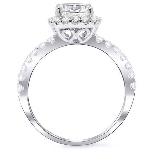 1.76 Ct. Cushion Cut Diamond Halo Engagement Ring E,VS1 GIA