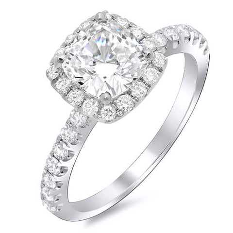 2.00 Ct. Cushion Cut Diamond Halo Engagement Ring H,VS1 GIA
