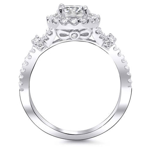 3.77 Ct. Halo Round Cut Diamond Crisscross Shank Engagement Ring I,SI2 GIA