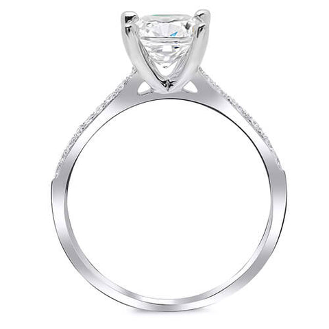 1.38 Ct. Cushion Cut Diamond Round Cut Pave Solitaire Engagement Ring G,VS1 GIA