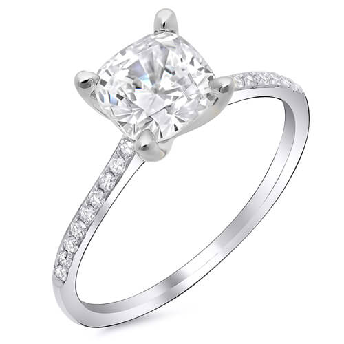 1.70 Ct. Cushion Cut Diamond Round Cut Pave Solitaire Engagement Ring H,VS1 GIA