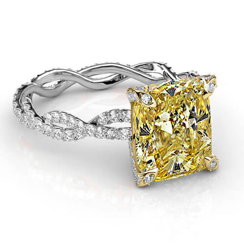 2.91 Ct. Canary Cushion Cut Diamond Eternity Twist Shank Engagement Ring SI2 GIA