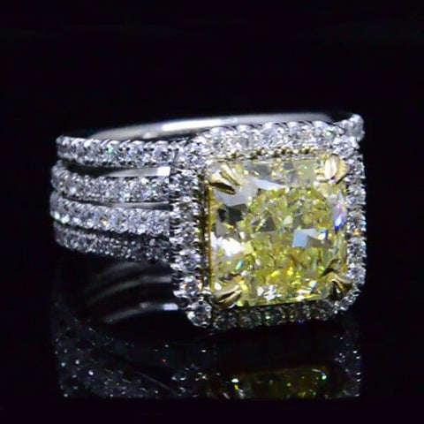 4.86 Ct. Canary Fancy Yellow Radiant Cut Diamond Engagement Ring Set SI1 GIA