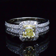 2.05 Ct. Canary Fancy Yellow Cushion Cut Diamond Ring