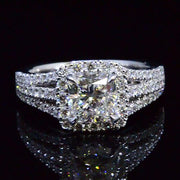 2.24 Ct. Radiant Cut Diamond Halo Split Shank Engagement Ring