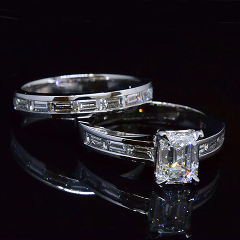 2.70 Ct. Emerald Cut Diamond Ring Set GIA F,VVS2
