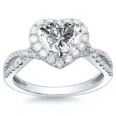 2.80 Ct. Halo Heart Shape Diamond Twist Shank Engagement Ring G,VS2 GIA