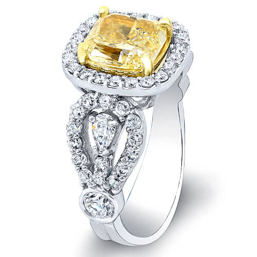 4.31 Ct. Canary Fancy Intense Yellow Cushion Cut Diamond Engagement Ring SI2 GIA