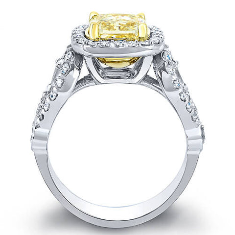 2.82 Ct. Canary Cushion Cut Diamond Engagement Ring SI1 EGL