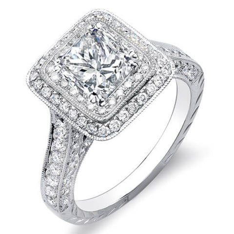 2.32 Ct. Princess Cut w/ Round Cut Dual Halo Diamond Engagement Ring F,VS1 GIA