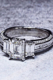 2.60 Ct. Emerald Cut w Baguettes Diamond Engagement Ring I Color VS1 GIA Certified