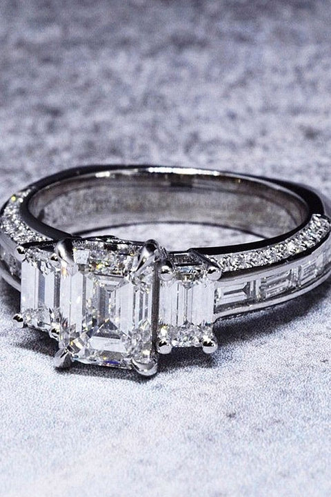 2.30 Ct. Emerald Cut w Baguettes Diamond Engagement Ring F Color VS1 GIA Certified