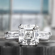 2.90 Ct. Signature Asscher Cut Diamond Ring w Baguettes H Color VS1 GIA Certified